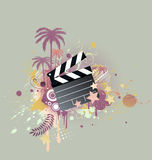Funky styled design background. A vector illustration of decorative background with palm trees, grunge circles and movie clapper board Stock Image