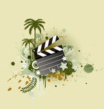 Funky styled design background. A vector illustration of decorative background with palm trees, grunge circles and movie clapper board Stock Images