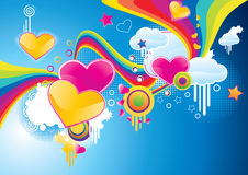 Funky styled valentine background Stock Images