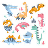 Funky Stylized Dinosaurs Real Species And Imaginary Jurassic Reptiles Collection Of Colorful Childish Prints Royalty Free Stock Photography