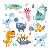 Funky Stylized Dinosaurs Real Species And Imaginary Jurassic Reptiles Set Of Colorful Childish Prints Stock Photos