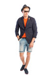Funky suit jacket and short jeans Stock Photos