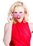 Funky summer fashion portrait. Girl in sunglasses Royalty Free Stock Image