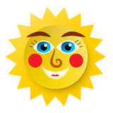 Funky Sun Cartoon. Paper Cut Abstract Vector Symbol Stock Image
