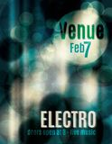 Funky Teal Electro music flyer. Electro abstract light effect flyer template royalty free illustration
