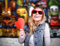 Funky teen girl in love Stock Photography