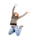 Funky teenager girl jumps in ecstasy isolated Royalty Free Stock Photography