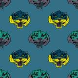 Funky tiger face seamless pattern. Original design for print or digital media Royalty Free Stock Image