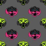 Funky tiger face seamless pattern. Original design for print or digital media Stock Photos