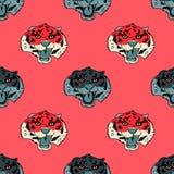 Funky tiger face seamless pattern. Original design for print or digital media Stock Image