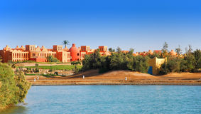 Funky town of El Gouna. Funky architecture and hotel complex in El Gouna, Egypt royalty free stock image