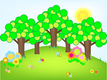 Funky trees and flowers Royalty Free Stock Image