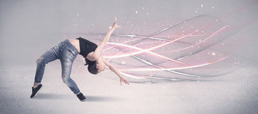 Funky urban dancer with glowing lines Royalty Free Stock Photo