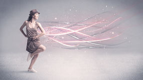Funky urban dancer with glowing lines Royalty Free Stock Photos