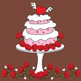 Funky Valentine Heart Cake stock illustration