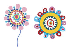 Funky Vector Flowers. Colorful set of two folk fowers Stock Image