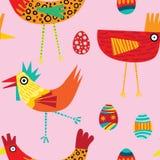 Funky vector herhaalt patern van kleurrijke kippen stock illustratie