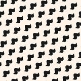 Funky vector seamless pattern with simple curved shapes. In diagonal grid, bird silhouettes. Abstract black and white geometric texture. Modern hipster fashion Stock Photo