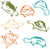 Funky vector turtles icon set Stock Image