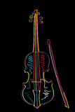 Funky violin. Graphic brush sketch illustration of a stylized violin and bow  over black Royalty Free Stock Image