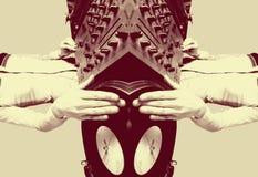 Funky vrouwelijk DJ weerspiegeld patroon Stock Fotografie
