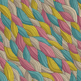 Funky Waves seamless pattern. In colors is hand drawn nature-like composition. Illustration is in eps8 vector mode, background on separate layer Stock Images