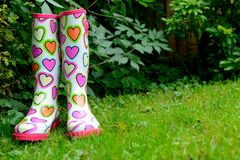 Funky wellingtons. In a garden royalty free stock photos