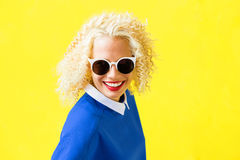 Funky woman with sunglasses Royalty Free Stock Photo