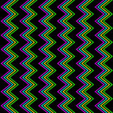 Funky Zig Zag Pattern. Seamless 80s zig zag neon glow background Royalty Free Stock Image