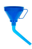 Funnel. Blue plastic funnel isolated on white Royalty Free Stock Photos