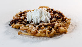 Funnel cake. On white with chocolate sauce stock images
