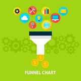 Funnel Chart Flat Concept Stock Image