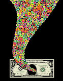 Funnel of color and dollar bill Stock Photography