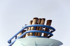 Funnel of cruise ship. In the mediterranean sea Stock Photography