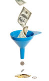 Funnel and currency Royalty Free Stock Photos