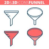 The funnel filter. Flat and isometric 3d outline icon set. The funnel filter.  Flat and isometric 3d outline icon set. The convercion concept, laboratory Stock Photo