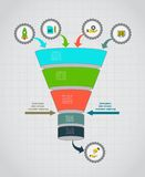Funnel flow chart. Infographic template . Design concept for presentation, round chart or diagram. Vector EPS10. Stock Images