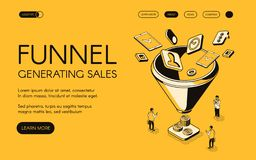 Funnel generating sales vector illustration. For digital marketing and e-business technology. Trade and commerce for money profit in isometric black thin line vector illustration