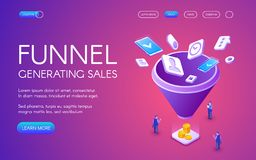 Funnel generation sales vector illustration. For digital marketing and e-business technology. Businessman on trade with smartphones and money profit on purple royalty free illustration