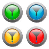 Funnel icon with drops set on glass buttons Stock Photo