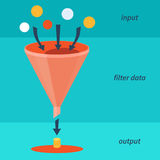 Funnel. Info graphics of data filter Stock Photo