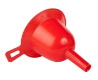 Funnel isolated. Red small funnel isolated on white background Royalty Free Stock Photography
