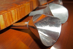 Funnel made ​​of metal with wooden board Stock Photos