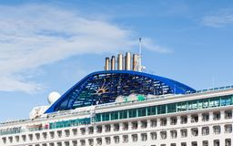 The Funnel of P & O Cruise Ship Oceana. The ship is pictured in the port of Arrecife, on the Spanish island of Lanzarote Royalty Free Stock Photo