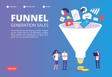 Funnel sale generation. Digital marketing funnel lead generations with buyers. Strategy, conversion rate optimization. Vector concept. Funnel marketing stock illustration