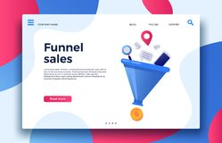 Funnel sales. Landing page business marketing sales generation, buyer conversion and money profit generations vector. Funnel sales. Landing page business stock illustration