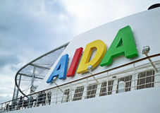 Funnel and sports ground of a cruise ship of AIDA Cruises Royalty Free Stock Image
