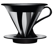 Funnel for straining coffee. With the metal filter. Vector illustration Royalty Free Stock Image