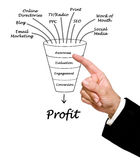 Funnel to profit. Diagram of funnel to profit Stock Photos