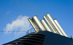 Funnels of a modern cruise liner Stock Image